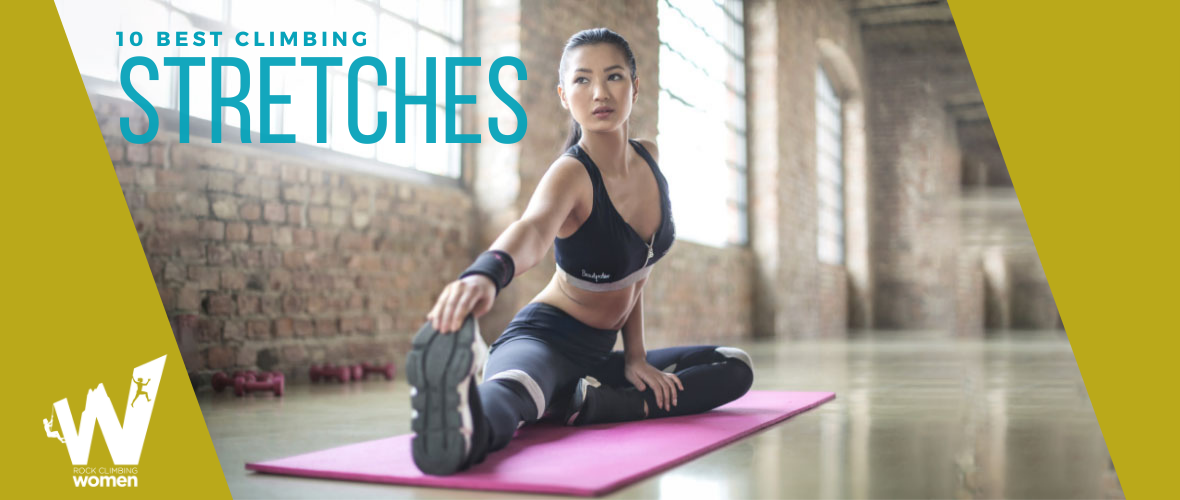 Woman in black sports bra stretching